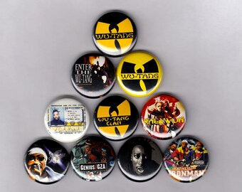 "Wu Tang Clan 1"" Pins/Buttons (36 chambers raekwon method ghostface gza odb poster lp badges patch)"
