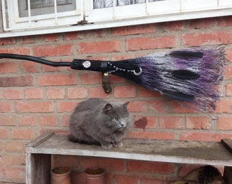 Black purple Witch's Broom, Wiccan besom