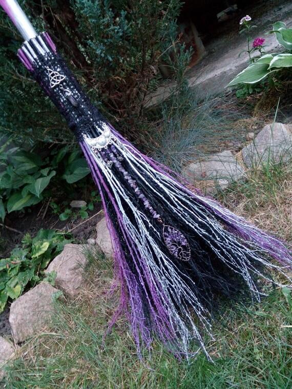 Amethyst Lavender Black And White Wedding Decor Wedding Jumping Broom Wicca Broom Ritual Besom Purple Broom Wiccan Wedding Handfasting