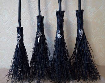Black Altar Broom, Black Witch's Broom, Halloween Broom, Black Goth Style, Wiccan besom, Pagan ritual,custom size, Wiccan Broom, Pagan Altar