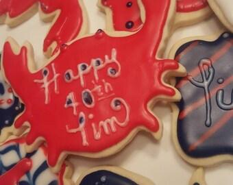 12 Nautical themed Sugar Cookies