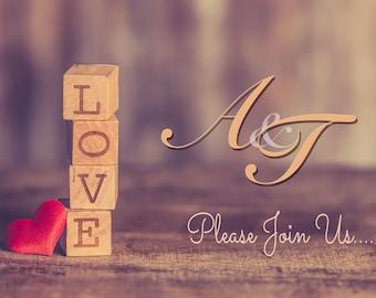 Block Love Printable Wedding Invitation Design