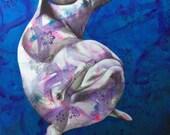 Dolphin fine art print - playful dolphin art - marine life print - by Michelle Gilks