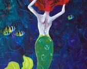 Mermaid fine art print - The Little Mermaid print - Fantasy art - Under the Sea - by Michelle Gilks