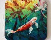 Koi drink coasters - Japanese - koi art - by Michelle Gilks