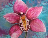 Single orchid original acrylic painting on wood - Exotic orchid painting - floral art - mini floral painting - gift for Mum - floral decor