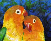 Parrot fine art print - Lovebirds art print - Modern bird art - by Michelle Gilks