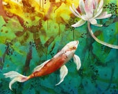 Koi fine art print - koi pond art - Japanese carp - tranquil art - by Michelle Gilks