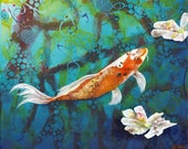 Koi fish original art print - Japanese koi pond art - Swimming carp wall art - Japanese themed decor - Zen like art -  by Michelle Gilks