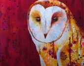 Barn owl original art print - unique owl portrait - modern owl artwork - living room wall art -  owl lovers gift - by Michelle Gilks