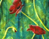 Poppy fine art print - Tall Poppies long wall art -  Rememberance day art print - Field of poppies - Floral artwork - by Michelle Gilks