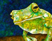 Tree Frog fine art print - frog wall decor - Being Green artwork - Australian White Lipped Tree Frog - by  Michelle Gilks