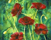 Poppy fine art print - Field of poppies print - rememberance day art - A Dash of Red - square wall art - red  green art -by  Michelle Gilks