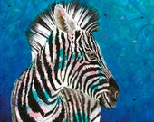 Zebra fine art print - Zebra portrait wall art - Zebra themed decor - Zebra Crossing - African animal art - by Michelle Gilks