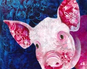 Pig fine art print - Pig portrait - Hello Piggy - Chinese zodiac art - by Michelle Gilks