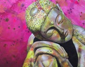 Buddah original art print - Resting buddah portrait - Buddah statue artwork - Yoga lover gift- Spiritual wall art - by Michelle Gilks