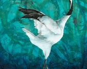 Japanese dancing crane fine art print - crane wall art - Japanese inspired art print - gift for bird lover - Asian art- by Michelle Gilks