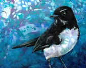 Willie Wagtail print - Australian bird fine art - Gift for overseas visitor - Fantail bird art - Willy Wagtail art - by Michelle Gilks