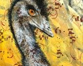 Emu portrait fine art print - Modern emu painting - Australian bird - Australian animal artwork - gift for bird lover - Michelle Gilks