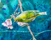 Bird and Cherry blossom fine art print - Cherry blossom art - Bird art print - Japanese inspired wall art - by Michelle Gilks