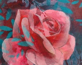 Pink rose original acrylic painting - single rose art - rosebud painting - floral decor art - mini art for small spaces - gift for Mum