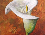 Arum Lily original acrylic painting on wood - white lily mini painting - single flower artwork - floral decor - gift for Mum