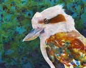 Kookaburra fine art print - kookaburra portrait - Australian bird art - Bird wall art - by Michelle Gilks
