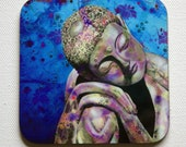 Blue Buddah drink coasters - Michelle Gilks - coaster - buddah - drink coaster - mat - art print - zen - japansese - blue - peaceful -