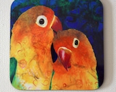 Love birds drink coasters - parrot artwork - bird themed decor - by Michelle Gilks