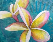 Frangipani flower original acrylic painting - mini floral painting on wood - flower art - bali inspired decor - bali art - gift for Mum