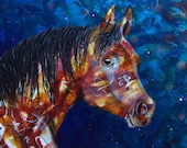 Horse fine art print - horse portrait - brown mare - equestrain art - by Michelle Gilks