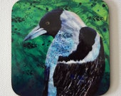 Magpie drink coasters - Australian bird art - art drink coasters - by Michelle Gilks