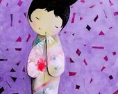 Shy kokeshi doll original acrylic painting on wood panel - Japanese inspired art - Japanese kokeshi art - doll painting for girls bedroom