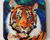 Tiger drink coasters - art drink coasters - by Michelle Gilks