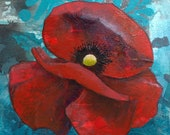 Poppy flower original acrylic painting on wood - single poppy art - floral decor - ready to hang flower painting - rememberance poppy