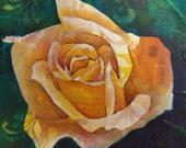 Yellow rose original acrylic painting on wood - mini painting - ready to hang art - gift for Mum - yellow rose for friendship - floral art