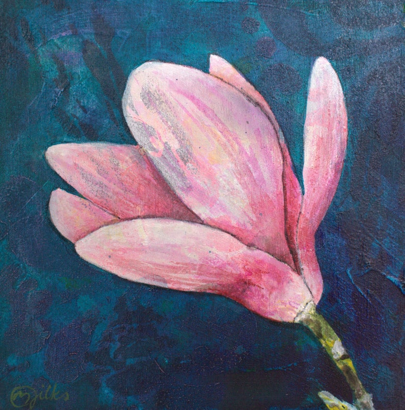 Magnolia Flower Original Acrylic Painting On Wood Mini Etsy