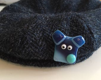 Dog brooch - Cute Fused Glass Dogs Head