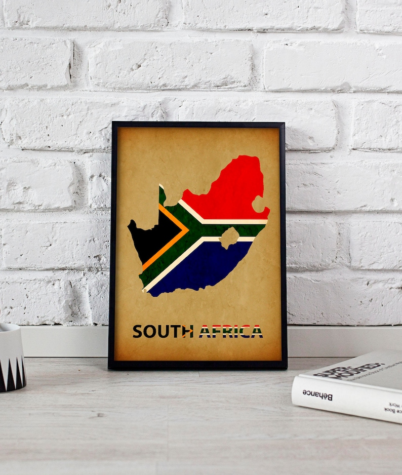 South Africa Art South Africa Print South Africa Map Poster South Africa Poster Wall Art South Africa Wall Decor Gift Print