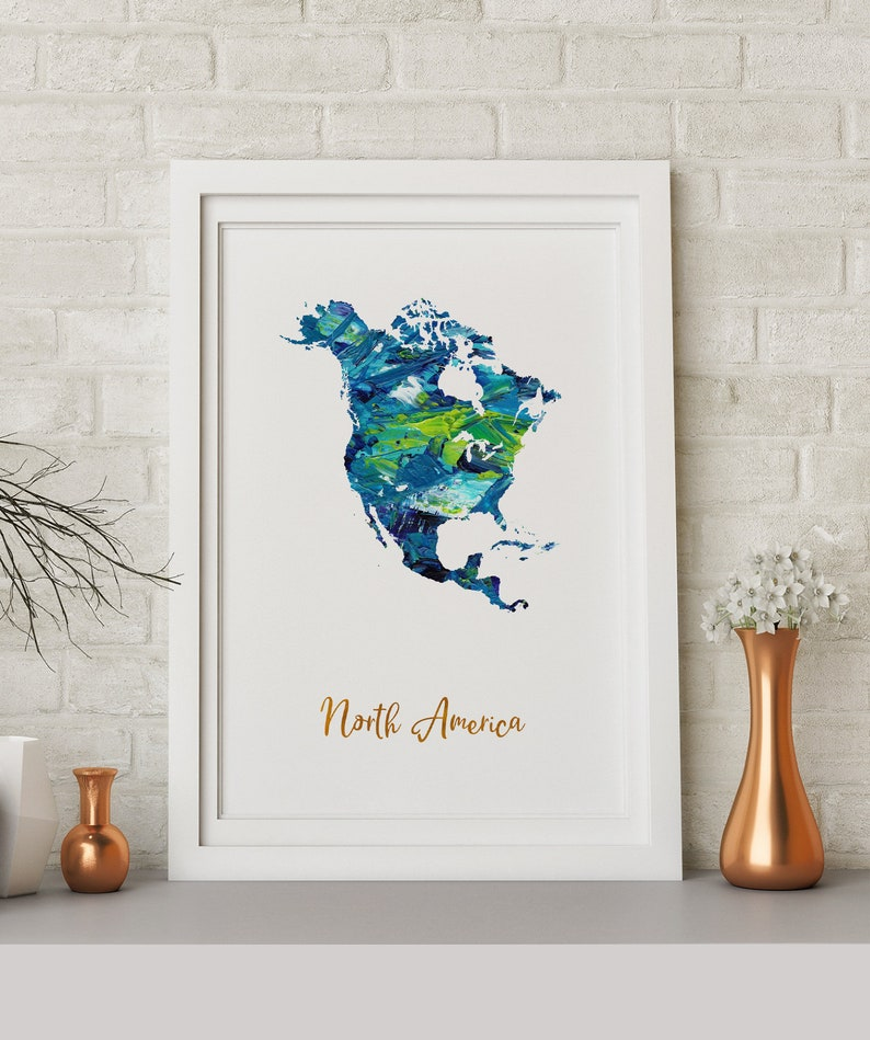 North America Map art poster print wall decor Travel Map office home Gift
