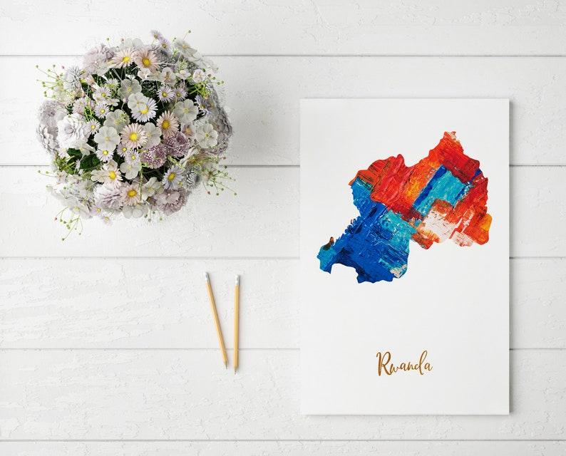 Rwanda Map art poster print wall decor Travel Map office home Gift