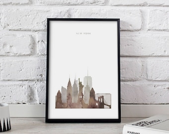 New York poster New York print New York art New York City poster New York Skyline New York decor Gift print
