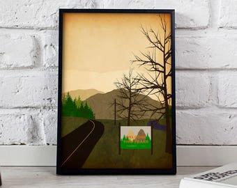 Twin Peaks poster, Twin Peaks print, Twin Peaks art, Movie print, Movie poster, Gift poster