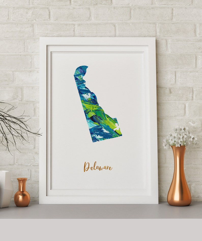 Delaware map poster art print wall decor Travel Map office home Gift