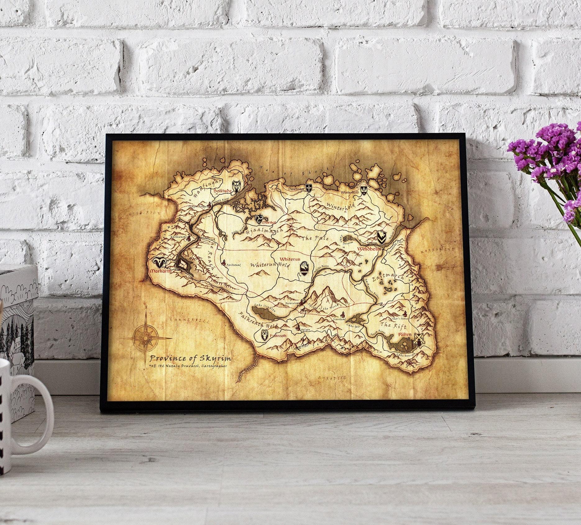 Skyrim Skyrim Map Skyrim Map print Skyrim art Skyrim | Etsy