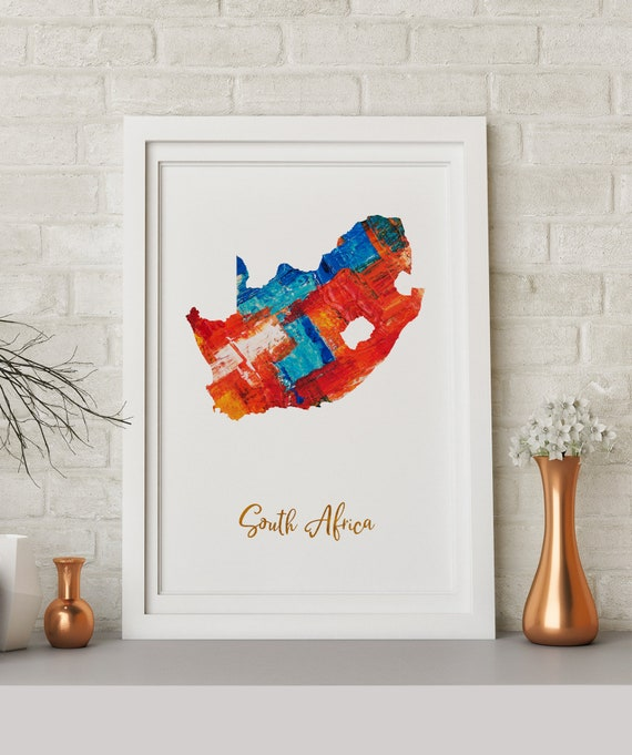 South Africa Art South Africa Map South Africa Print South Africa Poster Wall Art South Africa Wall Decor Gift Print
