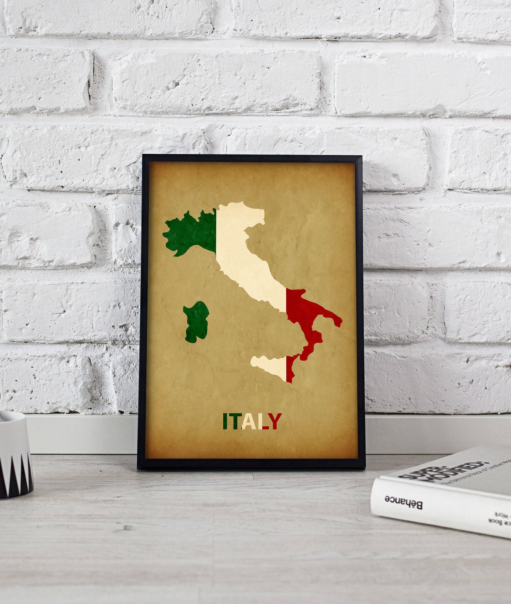 Italy art Italy Map Italy print Italy poster wall art Italy | Etsy