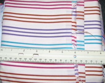 """PURPLE ROSE TEAL & Rust on Cream Poly Knit Stripe Fabric 3 1/2 yds x 60"""" wide"""