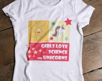t-shirt Girls love science & unicorns - Unicorn - SCIENCE
