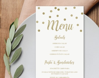 Baby shower menu etsy gold confetti baby shower menu cards printable double sided menu template instant download menu template baby shower gold decorations gco maxwellsz